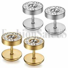Gold Silver Tone Stainless Steel Mens Women Boy's Round Rhinestone Stud Earrings