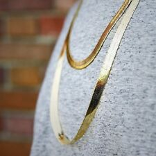 """Herringbone Chain 14K Gold Plated 9mm 20"""" 24"""" 30"""" Necklace"""