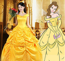 Beautiful Adult Princess Belle Costume Beauty And The Beast Cosplay Fancy Dress