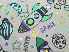 100% Cotton Fabric by Metre or Fat Quarters Rockets Planets Space Curtains Craft