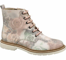 Deichmann Catwalk women Floral Lace-up Ankle Boots multi coloured New