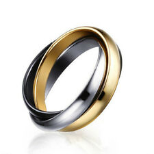316L Stainless Steel Triple Tone Band Silver Gold Black Tri-Roll Ring Size 6-10