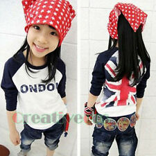 Kids Toddlers Boys Girls Fashion UK Flag London Letter Cotton Tee Tops T-Shirt