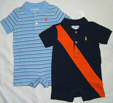 POLO Ralph Lauren One-Piece Romper BOY 3 9 Month Pony Logo Blue Striped or Navy