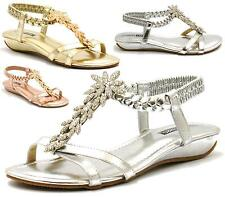 LADIES WOMENS FLAT DIAMANTE STRAPPY GLADIATOR SUMMER SLIP ON SANDALS SHOES SIZE