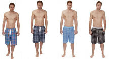 Mens Flannel Lounge Shorts Mens 100% Cotton Check Sleep Lounge Shorts Pants S-XL