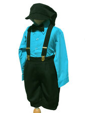 Toddler Boys Knickers Vintage Outfit Set, Turquoise/Black, Sz: 2T,3T,4T