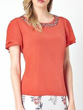 CC Country Casuals size 16 18 Silk Blouse Lined Jewel Embellished Top Coral New