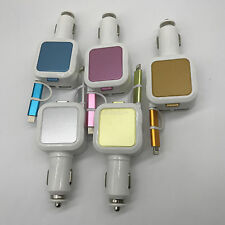 Dual USB 2 in 1 Micro USB Retractable Car Charger Adapter For iPhone Samsung HTC