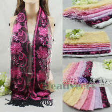 Women Sequins Lace Shawl Ethnic Floral Embroidery Oblong Scarf Cover-up Tassel