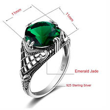 925 Silver Ring Emerald Gemstone Vintage Style Handmade fashion women Jewelry
