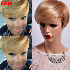 Womens Fashion Light Blonde Wig mix Brown Hair synthetic Short Wavy Wig Pixe wig