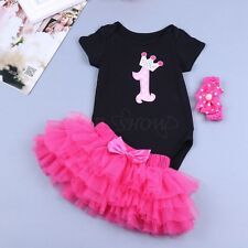 Baby Girl 1st Birthday Party Romper 3Pcs Bodysuit Tutu Skirt Headband Outfit Set