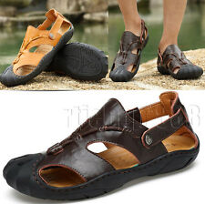 Mens Leather Fisherman Closed Toe Sports Walking Sandals Closed Toe Beach Shoes
