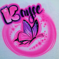 Custom Airbrushed Butterfly Shirt with Name (Sizes 6 months - Adult 5XL)