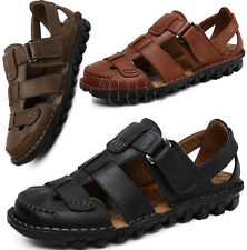 Mens Closed Toe Fisherman Walking Leather Beach Sandals Outdoor Business Shoes