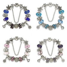 European 925 Glass Bead Charms Bracelet With Crystal Fit Women Christmas Jewelry