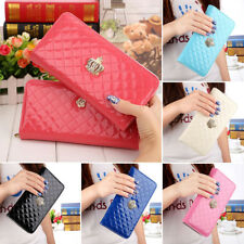 Women PU Leather Crown Long Clutch Purse Zipper Wallet Card Holder Bag US Ship