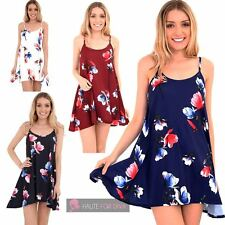 LADIES NEW FLARED CAMISOLE TULIP FLORAL PRINT STRAPPY SUMMER DRESS TOP UK 8-26