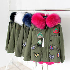 Real Raccoon Fur Collar Coat Fashion Women Winter Jacket Army Green Warm Outwear