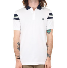 Fred Perry Bomber Sleeve Pique Polo - White