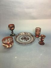 Vintage Bohemian Ruby Red Etched Grapes Vines Glass Plate Cup 5 pieces Misc.