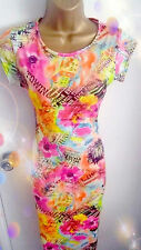 Used Womens Spring Summer Neon Midi Pencil Bodycon Dress Cap Sleeve SIZE  8 / 10