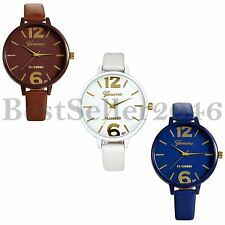 Fashion Womens Bracelet Large Dial Leather Band Ladies Quartz Analog Wrist Watch