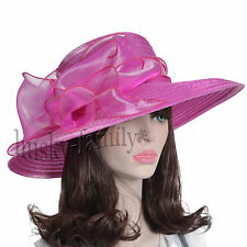 Kentucky wedding church dress derby hat Satin floral wide brim Ascot hat