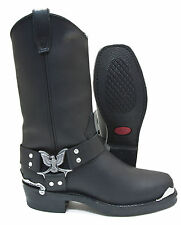 Dingo DI19053 Black Leather Eagle Harness Strap Motorcycle Riding Boot