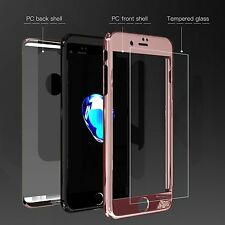 Hybrid 360 front and back case and Glass Screen Protector for iPhone 7 6S Plus