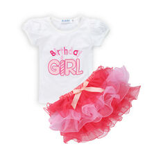 2PCS Cute Baby Girl T-shirt Tops Tutu Skirt Birthday Party Outfit Clothes Set