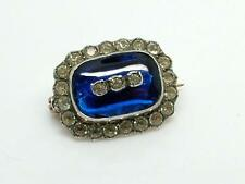 Antique Victorian/Edwardian Silver Paste & Blue Glass Lace Pin/Brooch