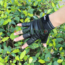 Men Leather Fingerless Motorcycle Bike Bicycle Car Riding Sports Hip-hop Gloves