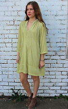 NEW CP Shades USA Regina Velvet Tunic Boho Lagenlook Lemongrass Sz S-XL