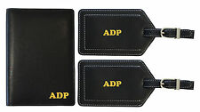 Personalized Monogrammed Leather RFID Passport Wallet and Luggage Tag