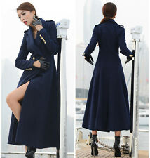 Womens Navy Full Length Wool Blend Jacket Trench Parka Military Coat AU 14 12 10