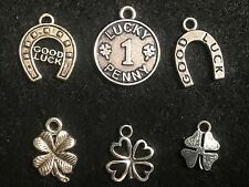 Good Luck Charm Antique Silver Lucky Penny Charms Lucky Horse Shoe