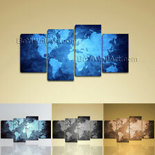 Huge Framed Contemporary Wall Art Print Canvas Blue Map Of World Abstract Atlas