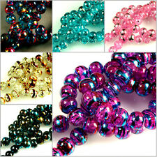 135 PCS / STRAND~ MULTICOLOUR~ROUND~CRACKLE~DRAWBENCH~GLASS BEADS, 6 MM