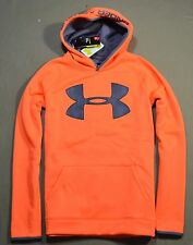NWT BOYS YOUTH UNDER ARMOUR ORANGE GREY PULLOVER HOODIE JACKET COAT YSZ XL