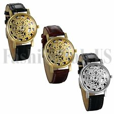 Luxury Gold Silver Brown Tone Hollow Skeleton Leather Band Analog Quart Watch