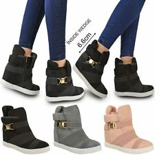 New Womens Ladies Mid High Heels Hidden Wedges Ankle Boots Trainers Strappy Size