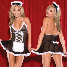 Sexy Naughty French Maid Fancy Dress Cosplay Uniform Complete Outfit Lingerie
