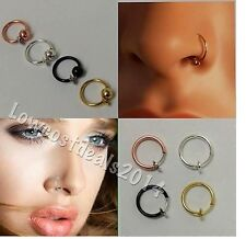 Fake Clip On Spring  Hoop Ring Earrings Nose Ear Septum Lip Eyebrow  Piercing