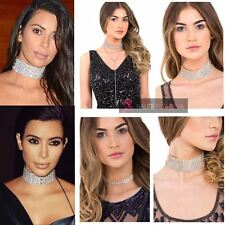 WOMENS SPARKLY DIAMANTE RHINESTONE GOLD SILVER FIXED CHOKER PARTY NECKLACE