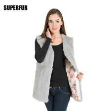 100% Real Rabbit Fur Vest Waistcoat Coat Fashion Women's Long Gilet Lining