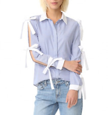 New Womens Ladies Fashion Open Sleeve Button Down Shirt Blouse Tops SML