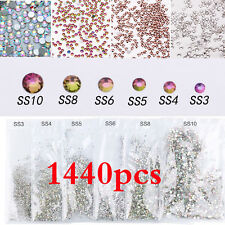 1440Pc 3D Charm Nail Art Glitter Diamond Acrylic Flatback Rhinestones Decoration