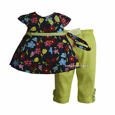 NWT Laura Ashley Baby Girls Outfit Shirt Legging Headband Size 12 18 24 months